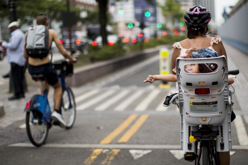 A family-friendly bike lane in New York City, July 2017