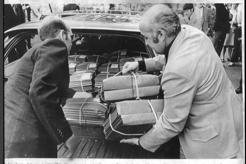 White House aides unload transcripts of Nixon's Watergate conversations in Washington, D.C., April 1974