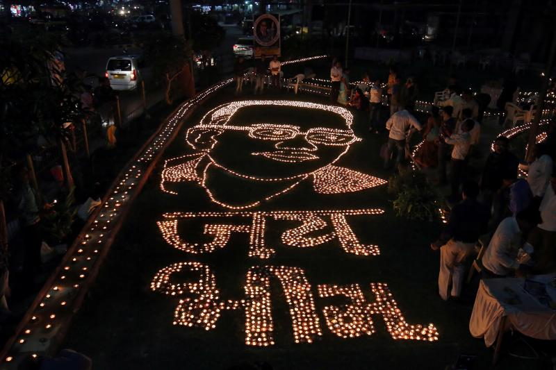 A memorial to B.R. Ambedkar, who drafted the Indian constitution, in Ahmedabad, India, December 2018