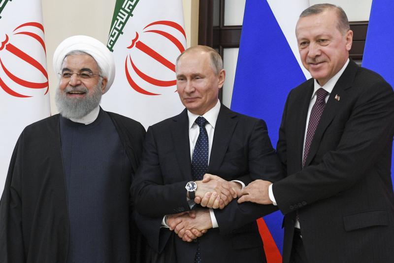 Hassan Rouhani, Russian President Vladimir Putin,and Turkish President Recep Tayyip Erdogan in Sochi, Russia, February 2019