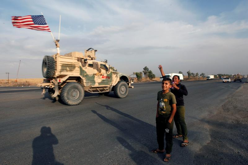 A convoy of U.S. vehicles withdrawing from northern Syria, in Erbil, Iraq, October 2019.