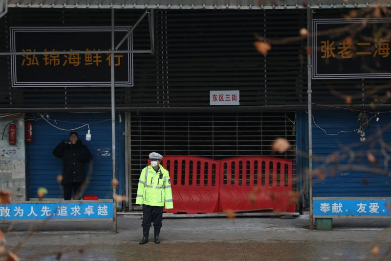 The closed seafood market in Wuhan,January 2020