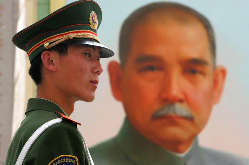 A portrait of Yat-Sen in Tiananmen Square in Beijing, ChinaApril2005