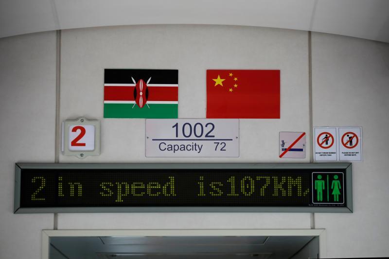 A BRI-built train traveling from Nairobi to Mombasa, January 2020