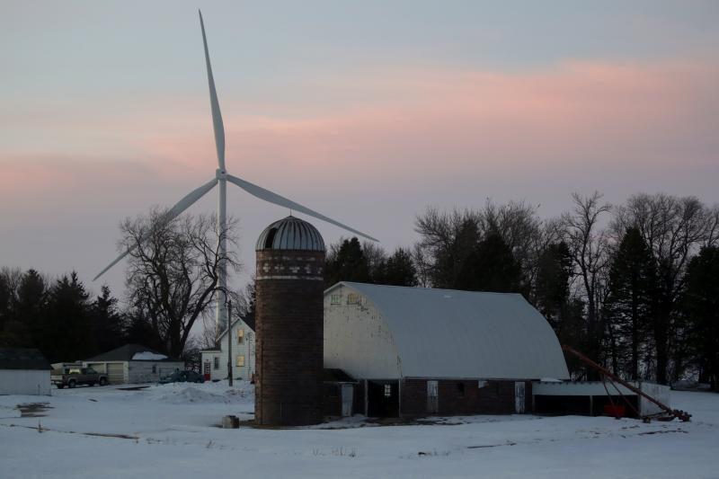 A wind farm in Latimer, Iowa, February 2020