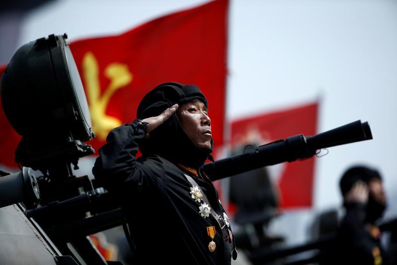 A North Korean soldier at a military parade in Pyongyang, North Korea, April 2017