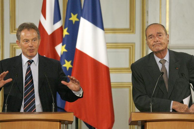 Blair and Chirac at the Elysee Palace in Paris, June 2006