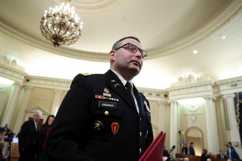 Vindman testifies before the House Intelligence Committee, Washington, D.C., November 2019