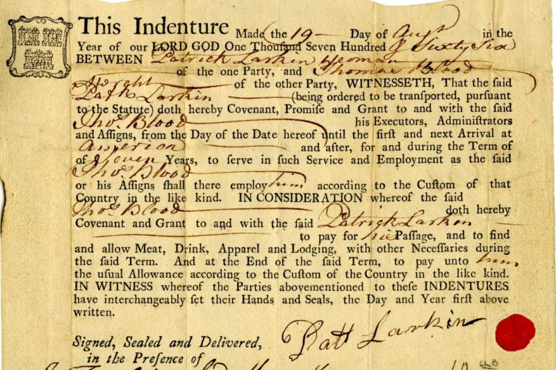 Indenture between Patrick Larkin and Thomas Blood, 17 August 1766.