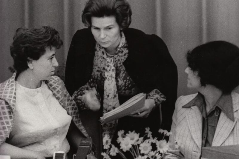 Lagadinova with the Russian cosmonaut Valentina Tereshkova, the first woman in space, at a women's conference in Prague, 1975.