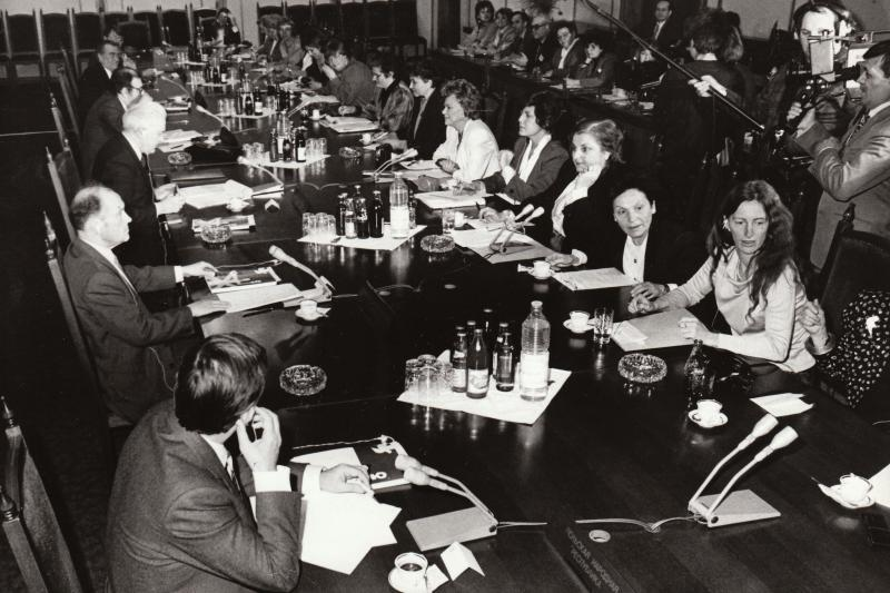 A meeting between the leaders of women's organizations in NATO countries with the Ministers of Defense of the nations in the Warsaw Pact in Sofia, 1988.