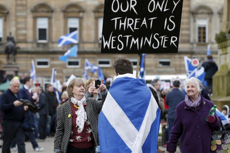 Demonstrators take part in an anti-Trident rally in Glasgow, April 4, 2015.