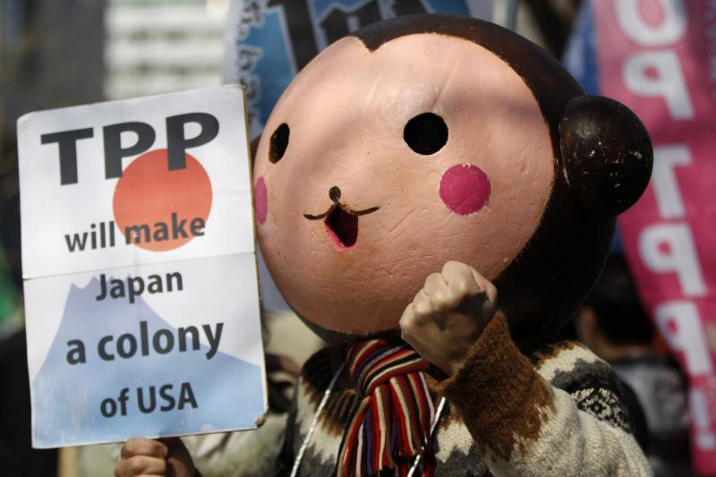 A protester wearing a monkey mask raises his fist during a rally against Japan participating in rule-making negotiations for the U.S.-led TPP in front of the parliament in Tokyo, March 15, 2013.