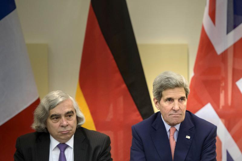 U.S. Secretary of Energy Ernest Moniz and U.S. Secretary of State John Kerry in Lausanne, Switzerland, during negotiations with Iranian officials on the country's nuclear program, March 2015.