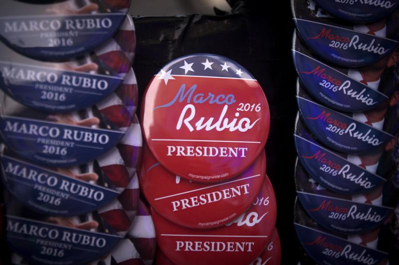 Buttons supporting Rubio are pictured for sale after he announced his bid for the White House in 2016 at the Freedom Tower in Miami, April 13, 2015.