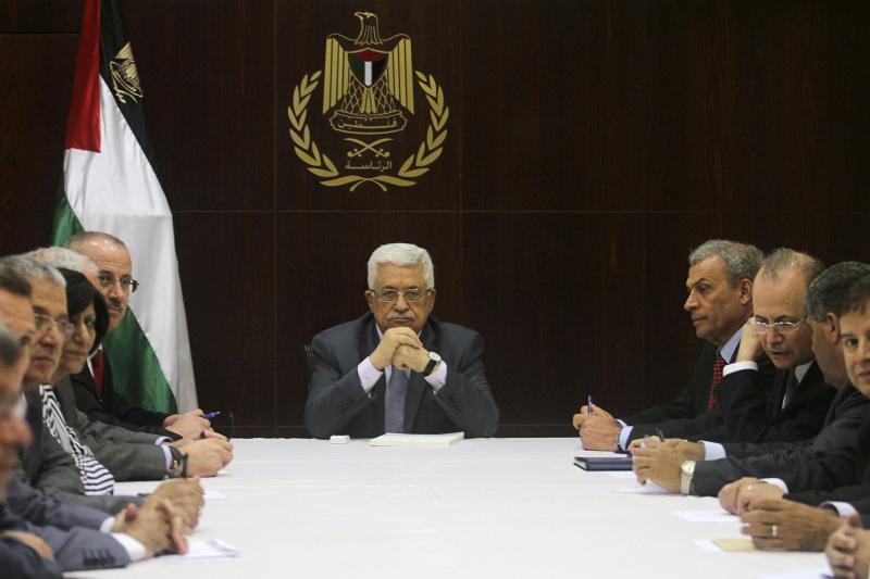 Palestinian President Mahmoud Abbas heads a cabinet meeting