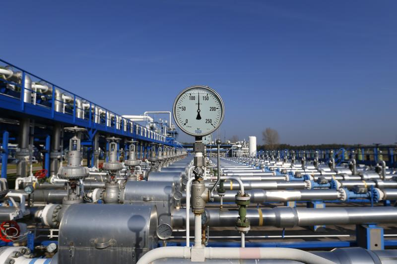 A pressure meter is pictured at the gas storage facility of Hungarian state-owned energy group MVM in Zsana, November 3, 2014.