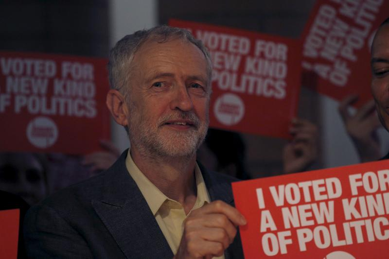 Labour Party leadership candidate Jeremy Corbyn holds a campaign poster during a rally in London, Britain September 10, 2015.