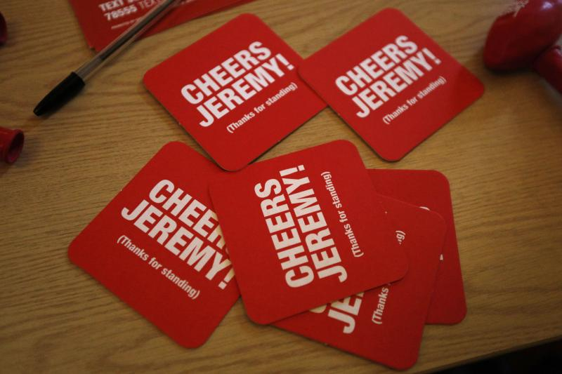 Beer mats are displayed during a rally for Labour Party leadership candidate Jeremy Corbyn in the Arts Centre Theatre in Aberdeen, Scotland August 13, 2015.