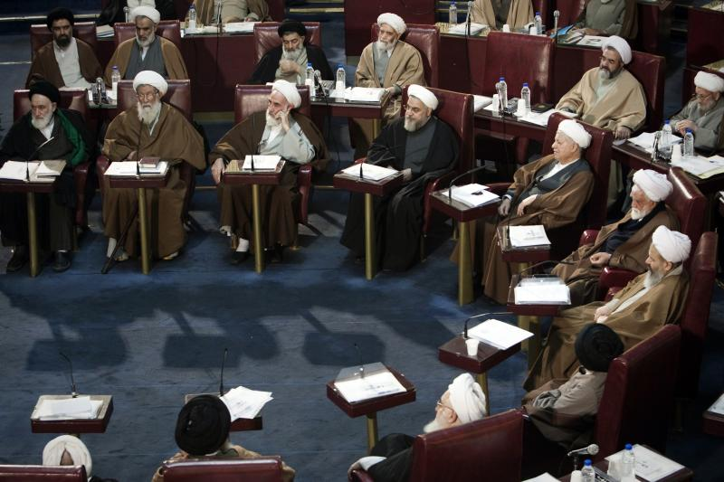 Clerics attend Iran's Assembly of Experts' biannual meeting in Tehran, March 6, 2012.