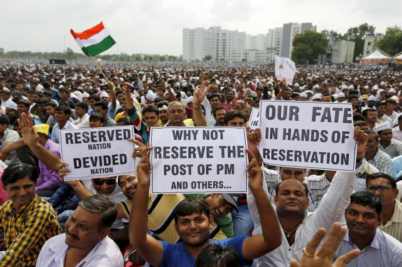 Patel protesters demand reservations for their caste in Gujarat