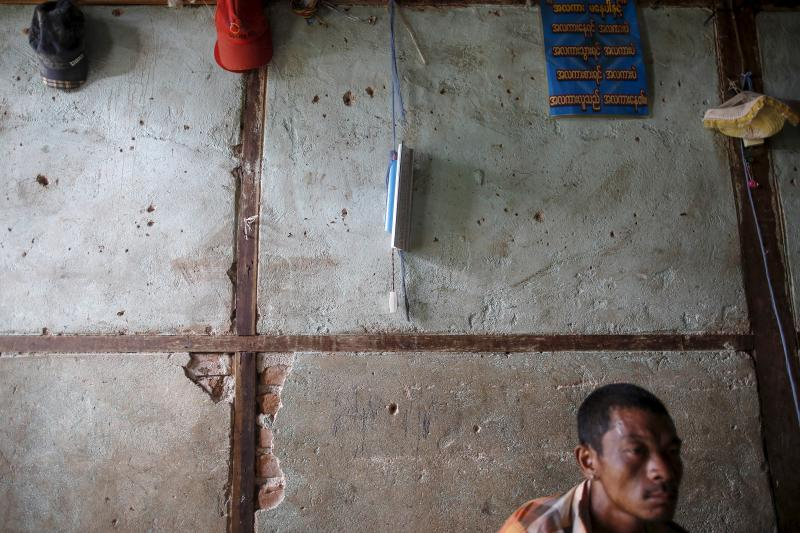 A lamp that was given by Soe Thein is seen on a wall at housing for government staff in Bewlekhe September 11, 2015.