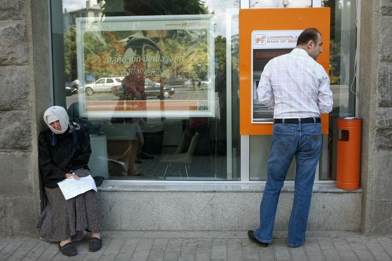 Outside a bank in Tbilisi, Georgia, June 2012. Georgia successfully manipulated the relevant indicators to improve its score on the World Bank's Ease of Doing Business Index.