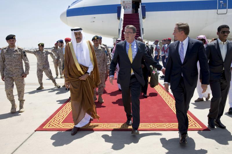 U.S. Defense Secretary Ash Carter arrives in Jeddah, Saudi Arabia, July 2015.  The long period of American primacy inthe Middle East is ending.