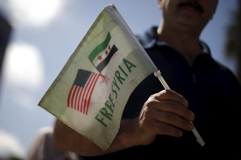 Syrian-Americans protest Russian intervention in Syria outside a Russian consular office in Santa Monica, California, United States, October 6, 2015.