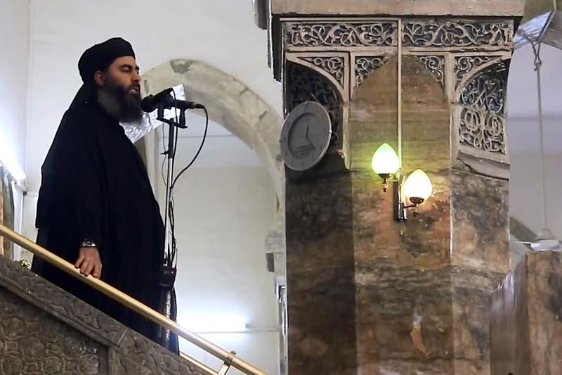 Abu Bakr al-Baghdadi, leader of the Islamic State, in Mosul
