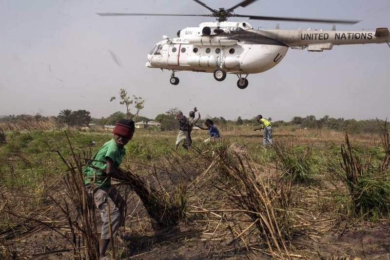 A United Nations helicopter takes off eastern Sierra Leone during the country's Ebola outbreak, December 2014. The World Health Organization (WHO) struggle to respond to the outbreak in West Africa.
