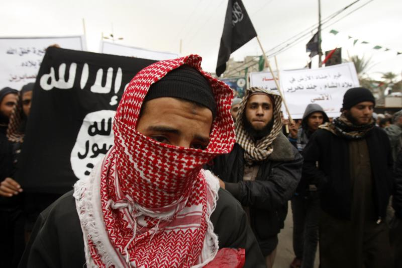 A Palestinian Salafist takes part in a protest against Syria's President Bashar al-Assad in Rafah in the southern Gaza Strip, February 24, 2012.