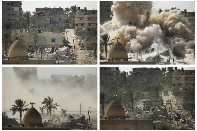 A combination of pictures shows a house before (top L) and after (bottom R) it was blown up during a military operation by Egyptian security forces in the Egyptian city of Rafah, near the border with southern Gaza Strip October 29, 2014.
