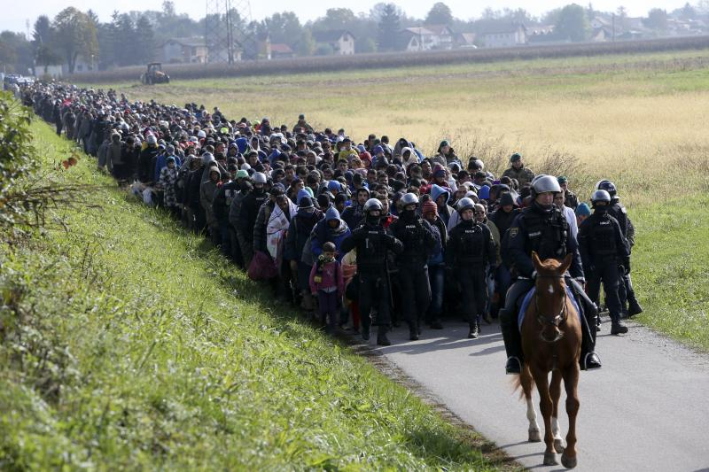 A mounted policeman leads a group of migrants near Dobova, Slovenia, October 20, 2015.