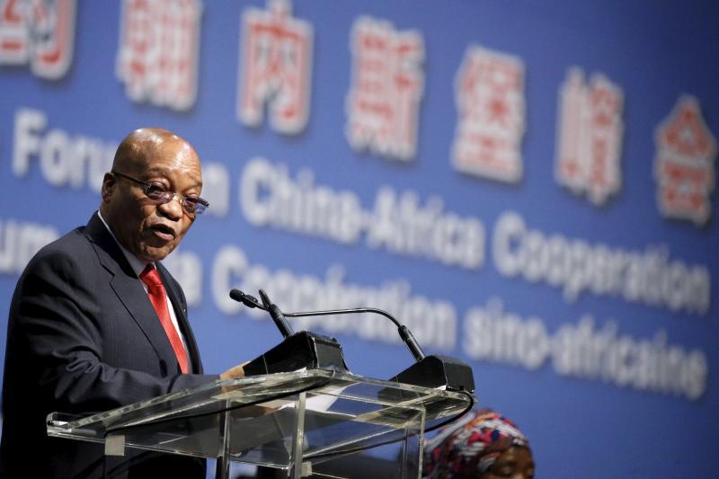 South African President Jacob Zuma speaks in Johannesburg.