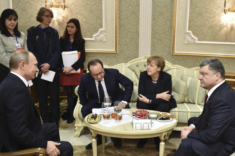 Russian President Vladimir Putin, Ukrainian President Petro Poroshenko, German Chancellor Angela Merkel, and French President Francois Hollande in Minsk, February 2015.