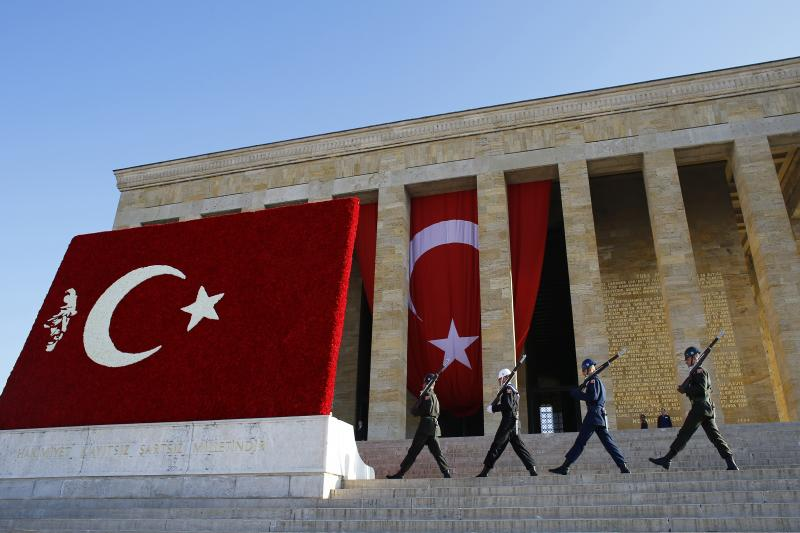 A ceremony at the mausoleum of Mustafa Kemal Ataturk, marking the anniversary of his death, Ankara, November 2014. After Turkey's 1952 accession to NATO, Turkish and U.S. officials mistakenly cited the moment as the culmination of Ataturk's aspirations.