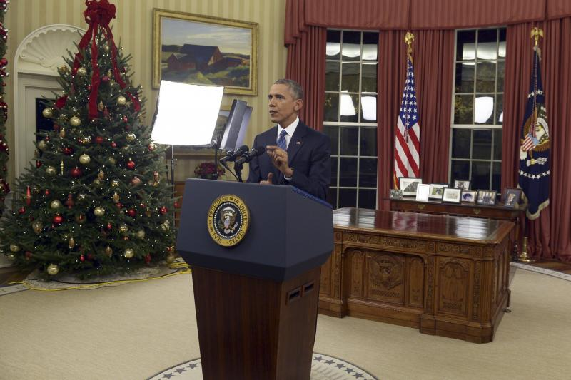 U.S. President Barack Obama speaks about the fight against ISIS during an address to the nation from the Oval Office of the White House in Washington, December 6, 2015.