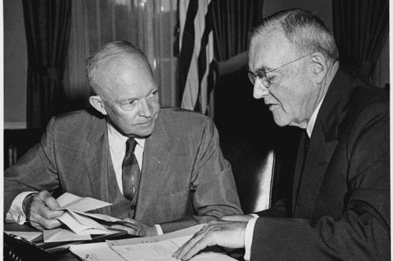 President Eisenhower and Secretary of State John Foster Dulles