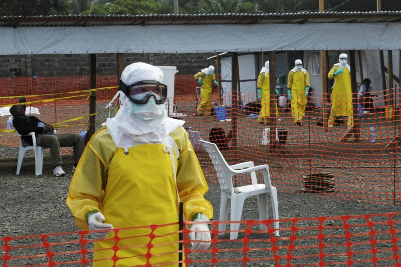 Health workers at an isolation camp for Ebola victims in Liberia