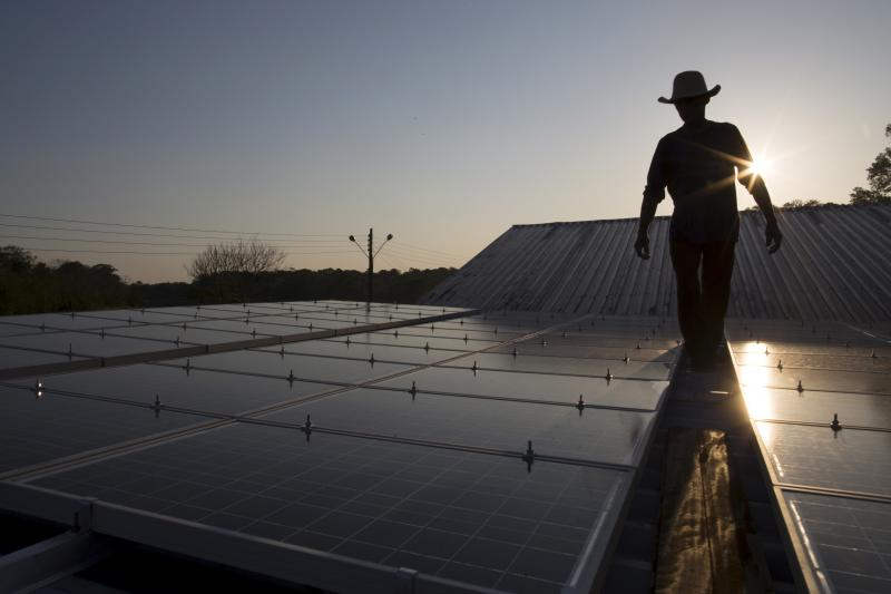 Solar panels in the Amazon, Brazil, 2015.