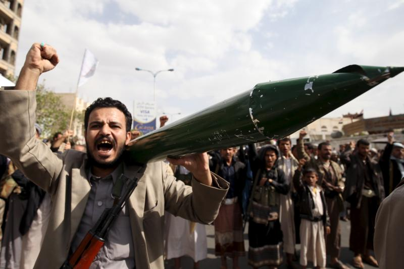 Iran-backed Houthi rebels protest in Sanaa, Yemen