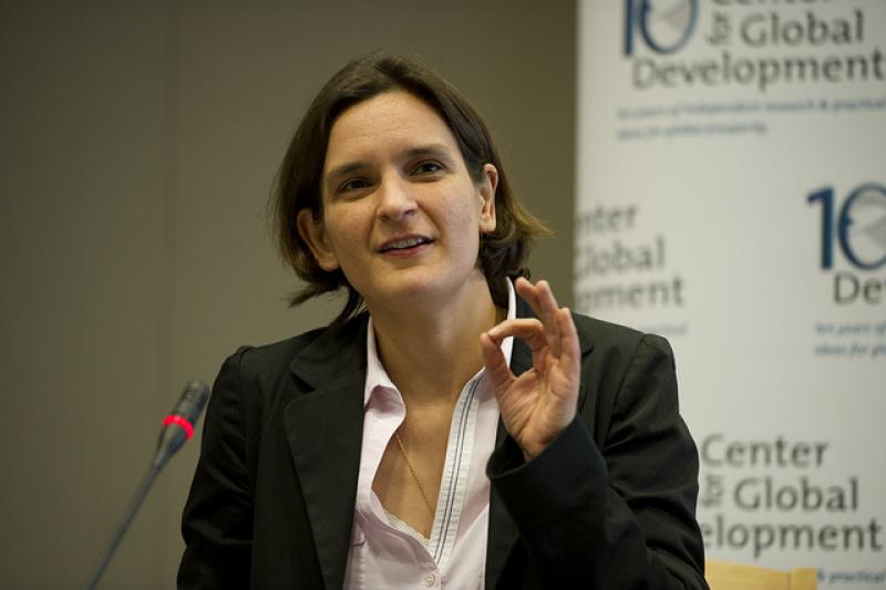 French economist and MIT Professor Esther Duflo, one of the elite Europeans who has left for the United States, at the Center for Global Development in 2011