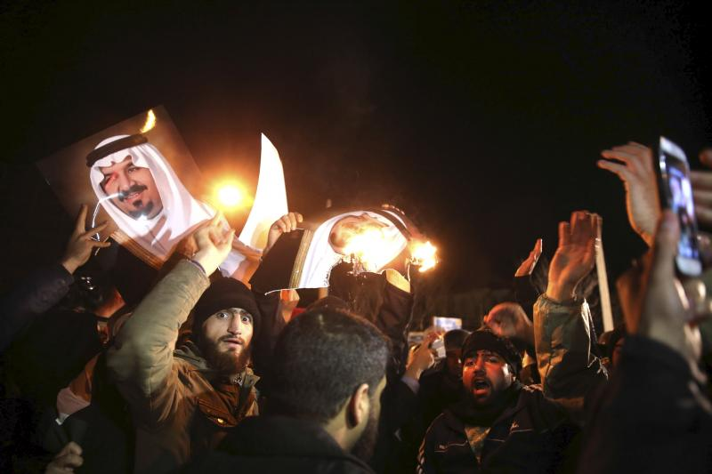 People protest in front of Saudi Arabia's embassy during a demonstration in Tehran January 2, 2016.