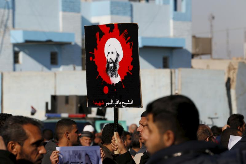 Supporters of Shia cleric Moqtada al-Sadr protest against the execution of Shia Muslim cleric Nimr al-Nimr in Saudi Arabia, during a demonstration in Baghdad January 4, 2016.
