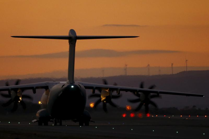 An RAF A400M military transport plane taxis on the runway after landing at RAF Akrotiri in southern Cyprus, December 3, 2015.