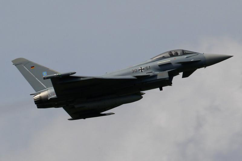 A German Eurofighter combat jet south of Berlin, June 2010. Germany's military spending measured as a percentage of GDP is well below NATO's target of two percent.