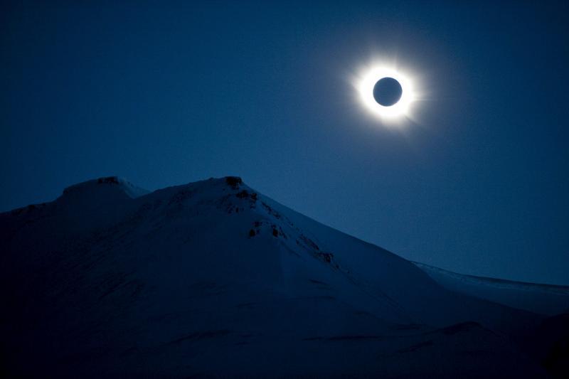 A total solar eclipse is seen in Longyearbyen on Svalbard, Norway, March 20, 2015.