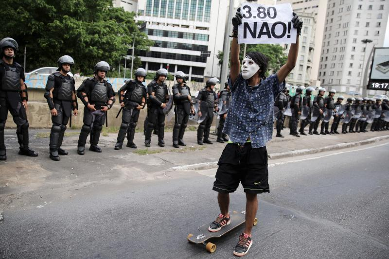 A protester against fare hikes in Sao Paulo, Brazil, January, 2016.