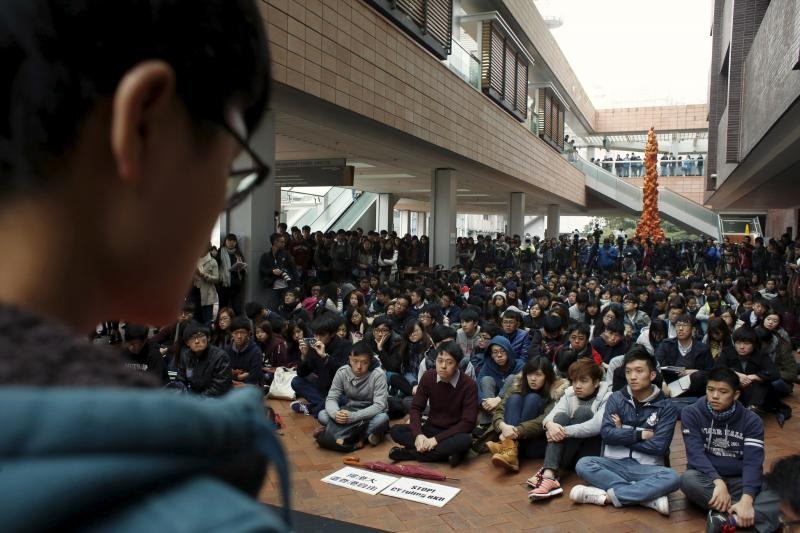 A student leader looks on as students attend a rally in the campus on the first day to boycott classes at the University of Hong Kong in Hong Kong, China January 20, 2016.